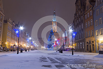Old town of Gdansk in winter scenery with Christmas tree
