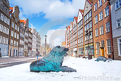 Old town of Gdansk in winter scenery with lion statue
