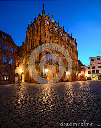 Free Old Town Hall And St. Nicolas Church In The Evening, Stralsund, Stock Photography - 54395682