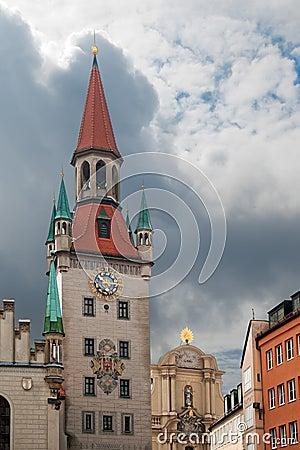 Old town hall at Marienplatz in Munich Germany.