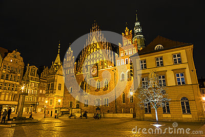 Old Town Hall by night in Wroclaw, Poland Editorial Image