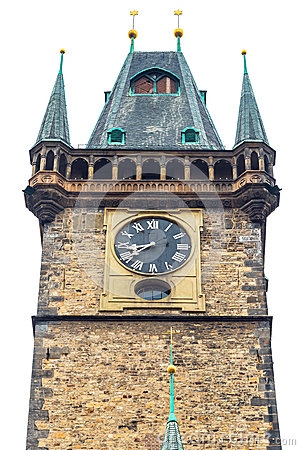 Old Town Hall in Prague on white isolated background
