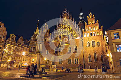 Old Town Hall in Wroclaw, night view Editorial Stock Photo