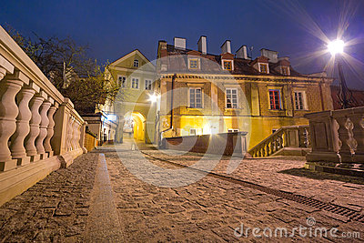 Old town of Lublin at night