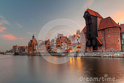 Old town on Motlawa river in Gdansk