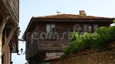 Old town of nessebar and seagulls at roof stock footage