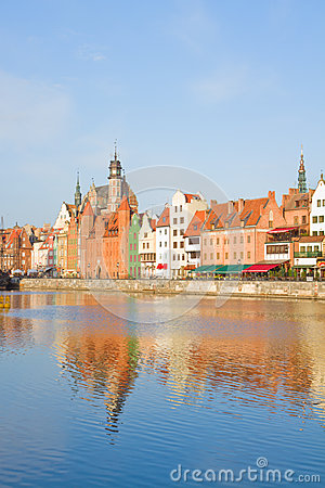 Old town over river Motlawa, Gdansk