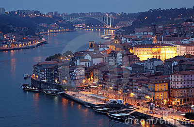 Old town of Porto at dusk Editorial Photography