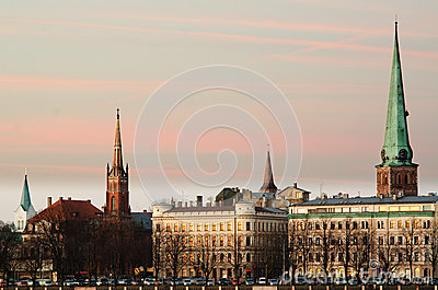 Old Town of Riga (Latvia) in the evening Stock Photo