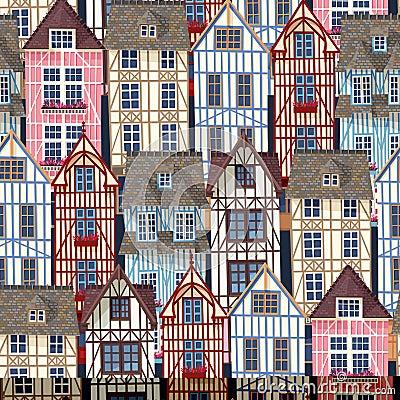 Old town seamless pattern Vector Illustration