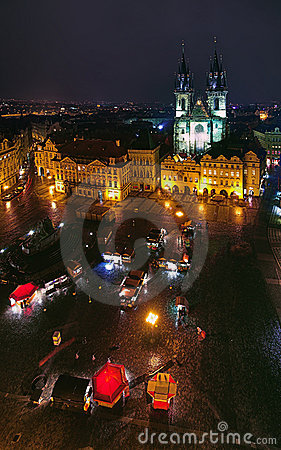 Old Town Square and Church of Our Lady in Prague Editorial Photo