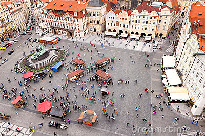 Old town square with a people