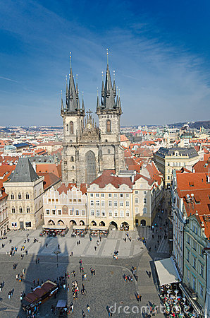 Old Town Square in Prague, aerial view to church Editorial Photo