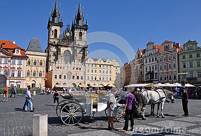 Old Town Square in Prague Editorial Stock Photo