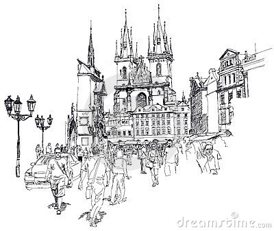 Old Town Square, Prague. Sketch