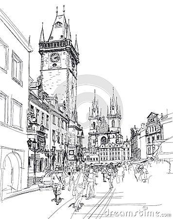 Old Town Square, Prague. Sketch