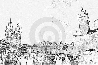 Old Town Square Sketch