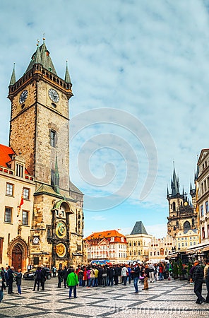 Old Town Square with tourists in Prague Editorial Photo