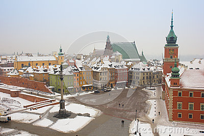 Old town square in winter, Warsaw, Poland