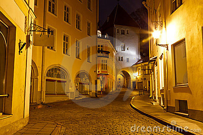 Old Town of Tallinn at Night, Estonia