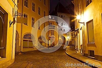 Old Town of Tallinn at Night, Estonia