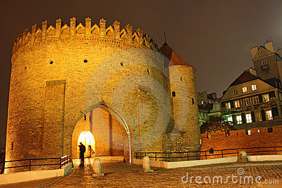 Old town in Warsaw (Poland) at night