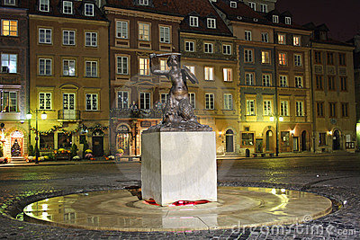 Old Town in Warsaw (Poland) at night Editorial Stock Photo