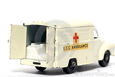 Old toy car Ambulance back