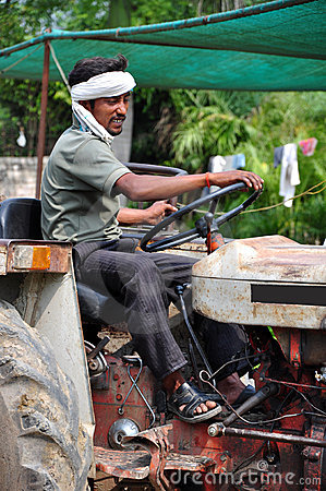 Old tractor with driver