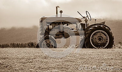 Old Tractor on the Hill Sepia Tone
