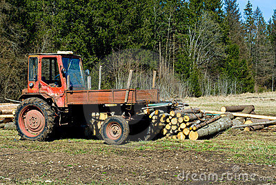 Old tractor and timber
