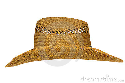 Old Traditional American Farmer Straw Hat Isolated