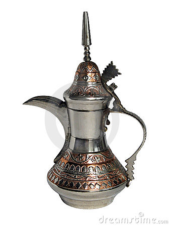 Old traditional Arabian metallic coffee-pot