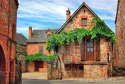 Old traditional French house. Collonges La Rouge