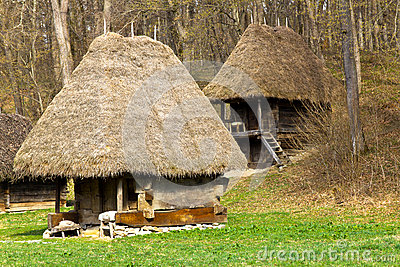 Ancient peasant houses stock photography image 29759562 - Romanian peasant houses ...
