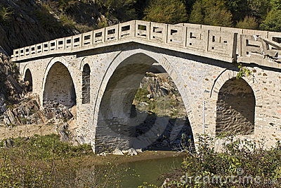 Old traditional stone made bridge at Greec
