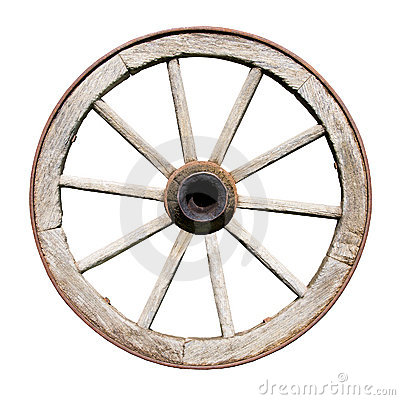 Free Old Traditional Wodden Wheel Isolated On White Stock Photos - 15647443