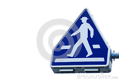 The old traffic sign pedestrian crossing