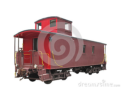 Old train caboose isolated