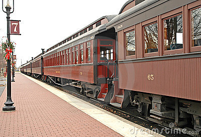 Old train at train station