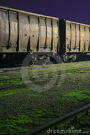 Old train wagons by night