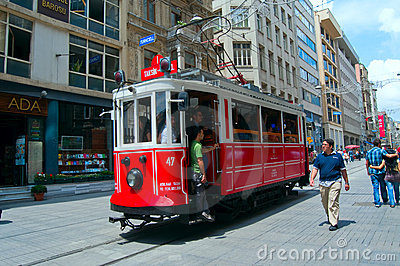 Old tram in Istanbul, Turkey Editorial Photo