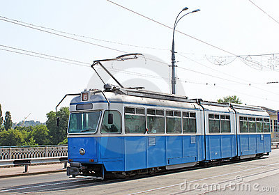Old tram on a street