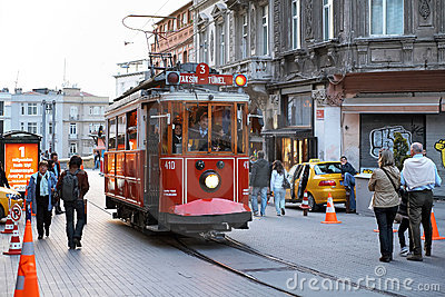 Old tram on the street Istiklal, Istanbul, Turkey Editorial Stock Photo