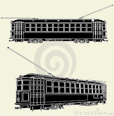 Old Tram Trolley Vector 01