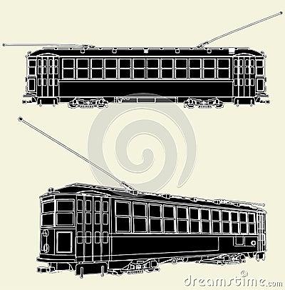 Old Tram Trolley Vector 01