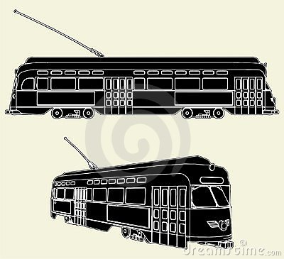 Old Tram Trolley Vector 02
