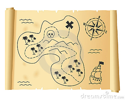 Old Treasure Map on Parchment