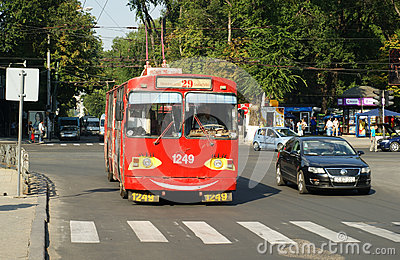 red old trolley bus in Chisinau Editorial Photo