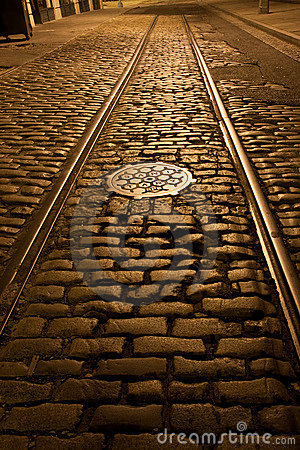 Free Old Trolley Tracks And Cobblestones Stock Photo - 16193410
